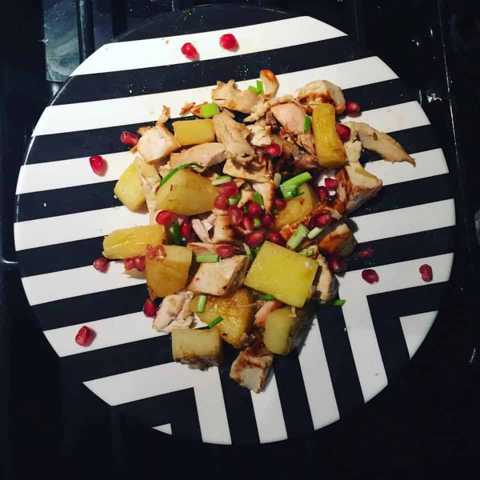 Pineapple Chicken with Fresh Pomegranates