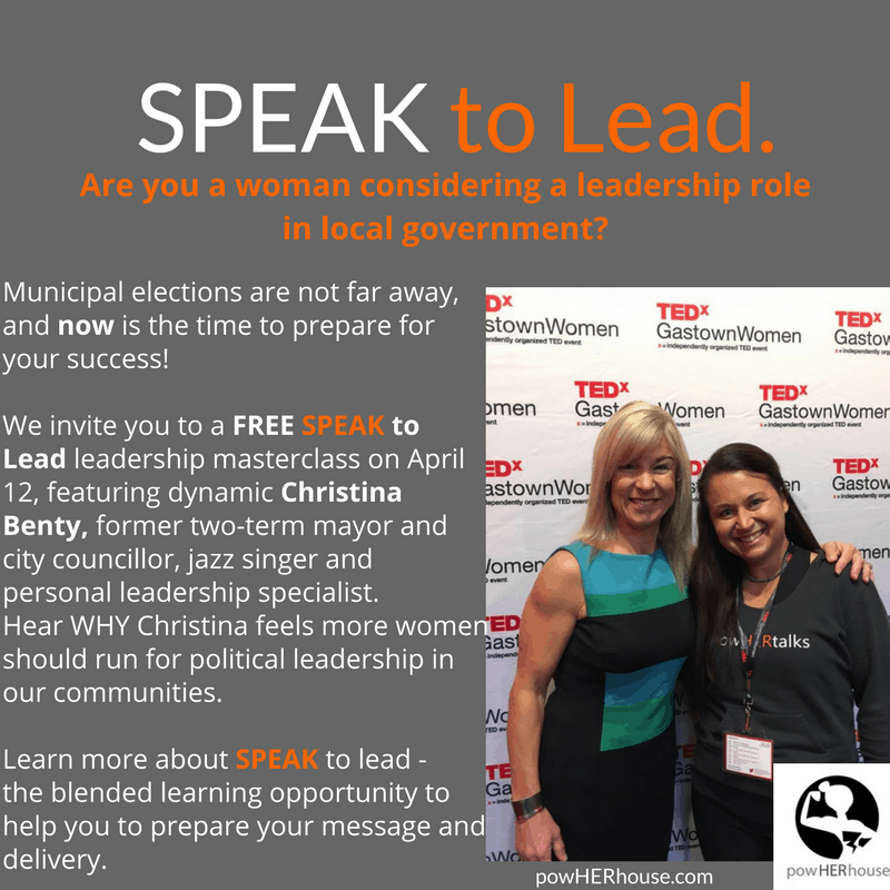 SPEAK to Lead | Leadership MasterClass featuring former mayor, Christina Benty