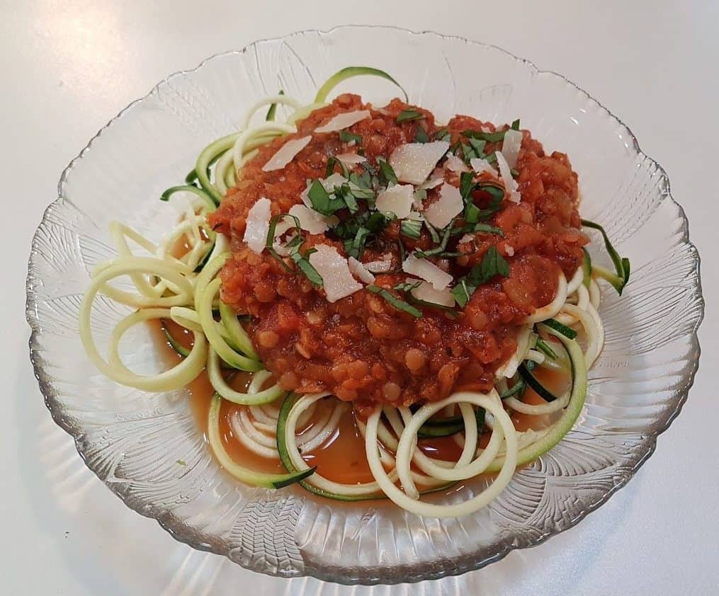 Chunky Tomato-Lentil Marinara with Zucchini Noodles